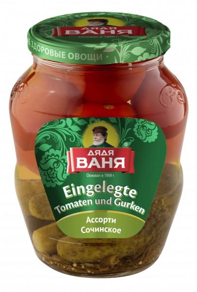 """Eingelegte Tomaten und Gurken """"Assorti"""""""